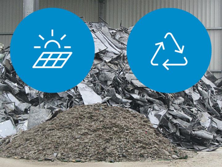 Material aus Photovoltaik-Modulen im Recycling