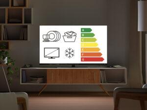 TV-Gerät in Wohnzimmer, Effizienz-Skala auf dem Bildschirm