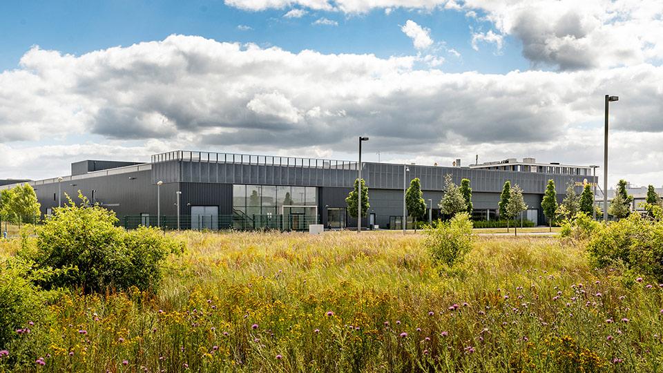 Fabrikgebäude im Grünen