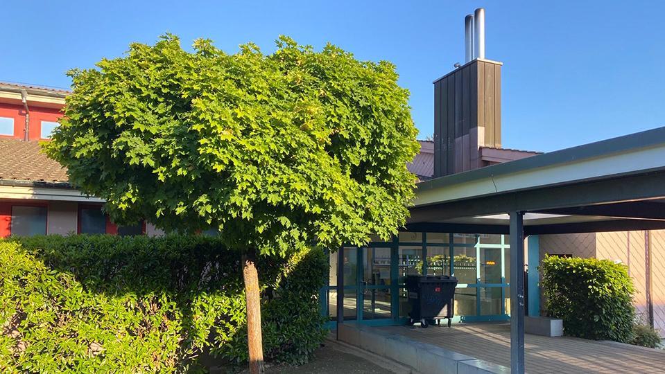 Doppelkamin über Gebäudeteil neben Eingang