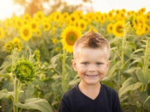 Sonnenblume Knabe Glücklich