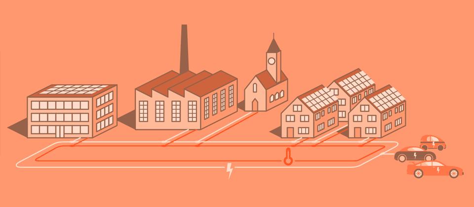 Gebäude in der Stadt, verbunden durch Netze für Strom und für Wärme