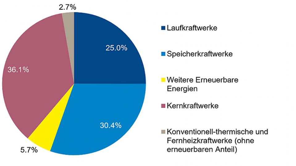 Anteile: Laufkraftwerke 25 %, Speicherkraftwerke 30,4 %, Kernkraftwerke 36,1%, Diverse 8,4 %